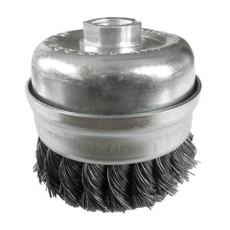 Knot Wire Cup Brush (80mm x M14 bore Twist Knot Cup Wire Brush For 180mm x 230mm Grinders by Toolpak)