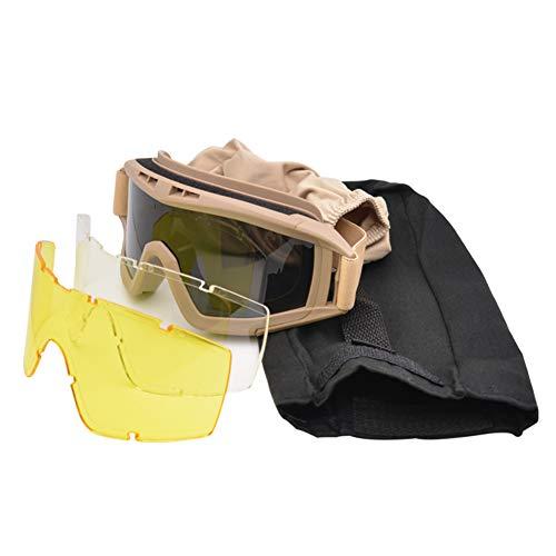 Gracorgzjs 1 Paar Anti-Aufprall Airsoft Sonnenbrille Brille Paintball Goggles-Khaki