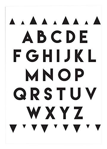 designclaud Nursery-Poster con lettere dell' alfabeto, colore: