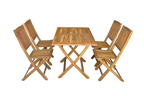 SSITG 5tlg Gartenset Balkonset Gartentisch Tisch Stuhl Akazienholz