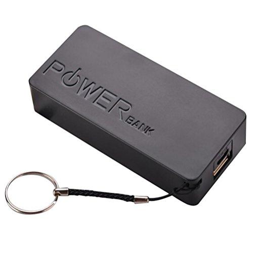 0mAh 2X 18650 USB-Energien-Bank-Aufladeeinheits-Fall DIY Kasten für iPhone Sumsang (Schwarz) ()