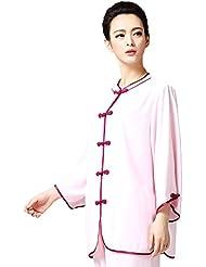 ZOOBOO uniformes de seda de las mujeres traje de Tai Chi Kung Fu Artes Marciales conjuntos, color rosa, tamaño small