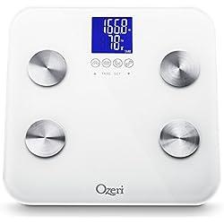 Ozeri Touch 200 KG/440 LBS- Escala de baño corporal total - Mide peso, grasa corporal, hidratación, músculo y masa ósea con reconocimiento automático y tecnología de tara infantil, blanco