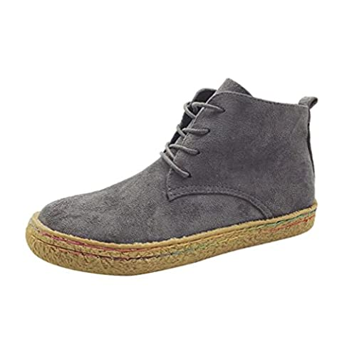 Femmes Chaussures, Malloom Dames Douche plate souple Chaussures Martin Bottes femme en daim en dentelle en dentelle  (EU:38, Gris)