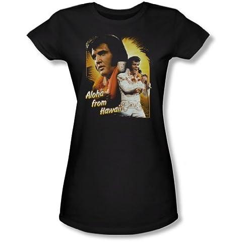 Maglietta da ragazzo, motivo: Elvis Presley, Aloha, colore: nero