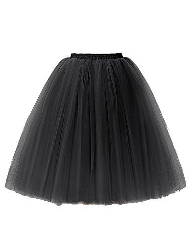 Kostüm Tanzen Störungen - Xiongfeng Damen Schwarz Tüllrock TuTurock Vintage Retro Petticoat Partyrock, S