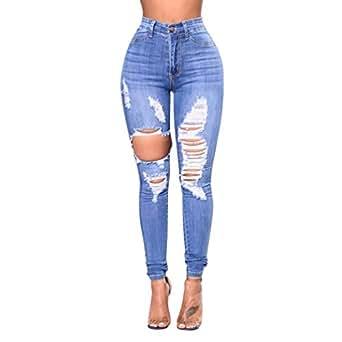 Zengbang Damen Mode Skinny Jeanshose Hohe Taille Bleistift ... 24d2f3212b