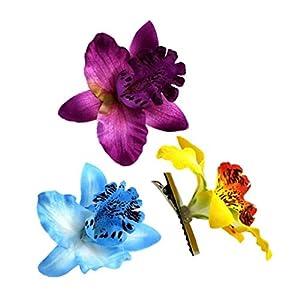 3pcs Blumen Haarbarrettes Phalaenopsis-Blumen-Haar-zusätze Für Frauen-mädchen-Strand-Party Supplies Hochzeit Lila, Blau, Gelb