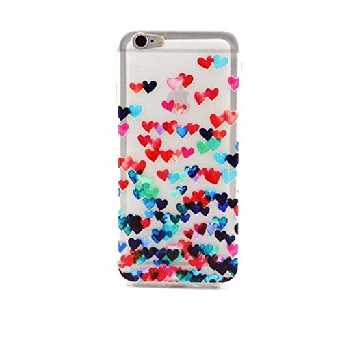 Coque Apple en Gel silicone souple , Iphone 5 , 5S et 5SE , cœur , rouge , cerise , fraise Plein de cœurs 6S
