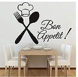 Cuisine Couverts Chef Bon Appétit Diy Stickers Muraux Cuisine Chambres Muraux Affiche Vinyle Décoration Maison Stikers Décor Noir Decal59X43 Cm
