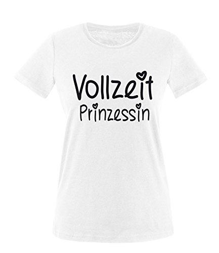 Luckja Vollzeit Prinzessin Damen Rundhals T-Shirt Weiss//Schwarz