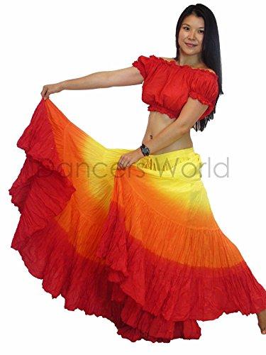 K Seller) Tänzer Welt 2pc 25Yard Baumwolle Rock für Tribal Gypsy Bauchtanz Röcke ATS, Yellow Orange Red ()