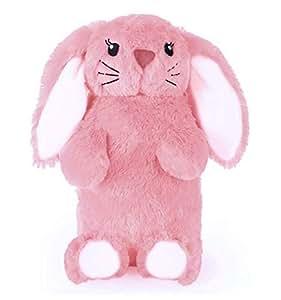 Home Living Deseo–cute, Fun & peluche bottiglia di acqua calda in finta pelliccia (litro), Pink Bunny, 1 l