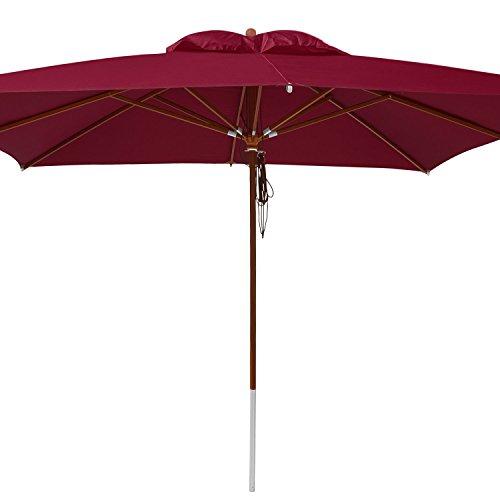 anndora® Sonnenschirm 4 x 4 m quadratisch Holz Gestänge - Dunkelrot