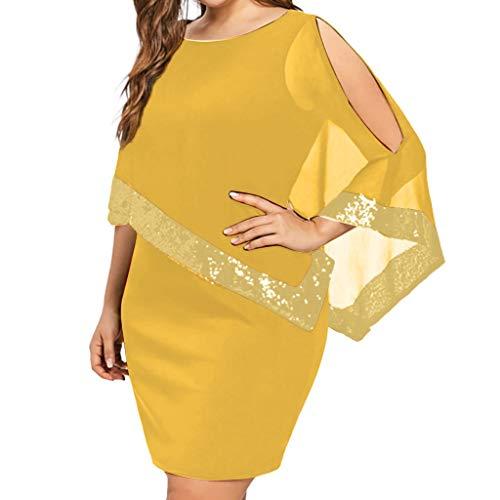 iYmitz Damen Übergröße Kleid Ärmellos Minikleid Chiffon Cocktailkleid Pailletten Pencil Partykleid Casual Kleidung Abendkleid Frauenkleid O-Neck Kleid für Frauen(Gelb,EU-56/CN-3XL) -