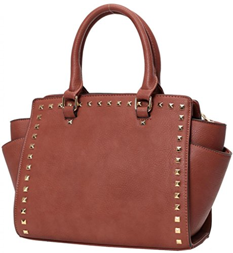 Kukubird Trapezium Metal Stud Faux Leather Classic Tote Large Handbag Old Rose