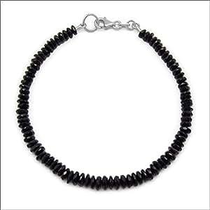 Design odyssée avec spinelle noire pneu avec perles facettes 39 cts avec fermoir en argent plaqué Rhodium - 20 cm