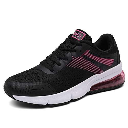 SOLLOMENSI Damen Herren Sportschuhe Laufschuhe Retwin Turnschuhe Straßenlaufschuhe mit Snake Optik Sneaker 41 EU C Schwarz Pink -