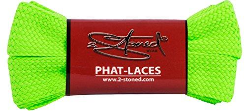 Original 2stoned Phat Laces Schnürsenkel 120cm lang und 3cm breit in 14 Farben Neon-Grün