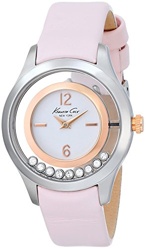 Kenneth Cole New York Women's KC2859 Transparency Round Floating Stone Bezel Pink Strap Watch