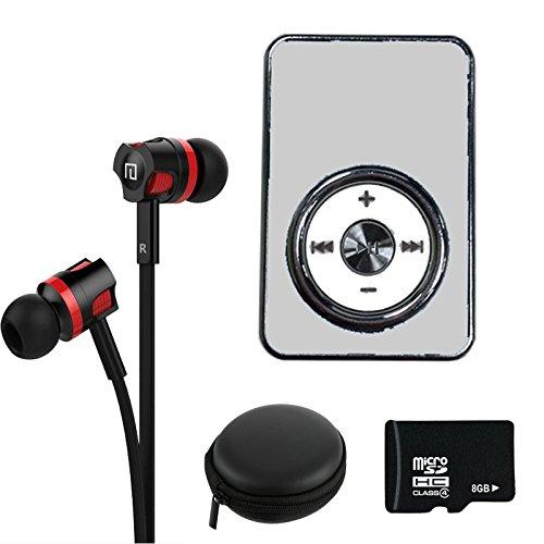 Preisvergleich Produktbild NEOGADS Mp3 Player Crome Clip Set + 8GB Micro SD Karte + Bass Headset + Etui zum Verstauen (Weiß)