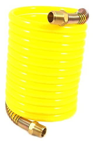 Forney 75417 Recoil Air Hose, Yellow Nylon with 1/4-Inch Male NPT Fittings, 1 Swivel End, 1/4-Inch-by-12-Feet, 200 PSI by Forney