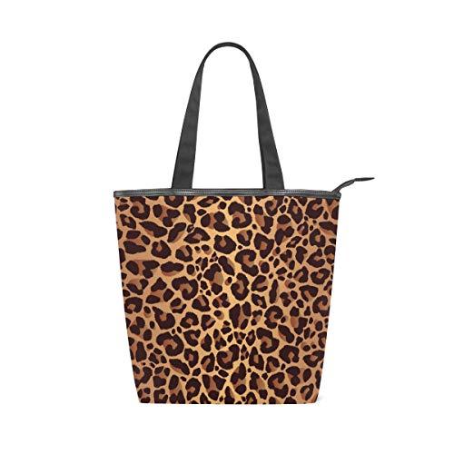 Jeansame - Bolso de lona para mujer, con cremallera, diseño de leopardo