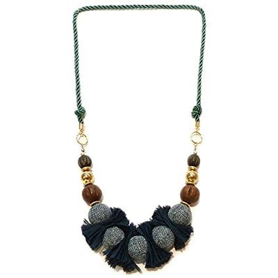 Collier long femme sautoir perles bois tissu plissé métal doré au choix vert ou noir