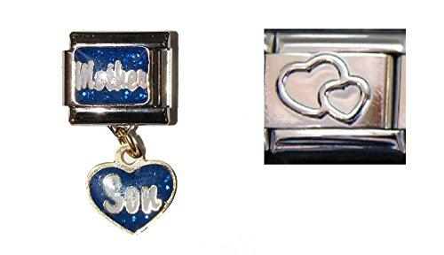 Figlio e madreperla, pendente a cuori color argento, 9 mm, Italian-charms 9 mm italiano, charm per Zoppini Talexia, box e Nomination costruzione charm bracelets