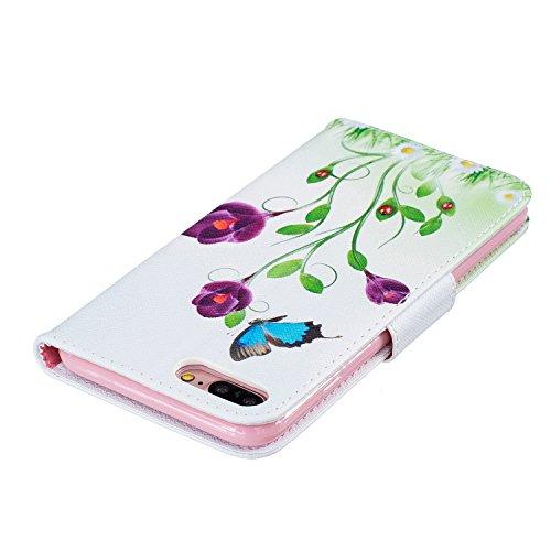 Etui IPHONE7PLUS, Frlife| Housse Portefeuille Coque Protection pour IPHONE7PLUS, en PU Cuir, avec Stand et Rangement Cartes, Case Cover couleur 1