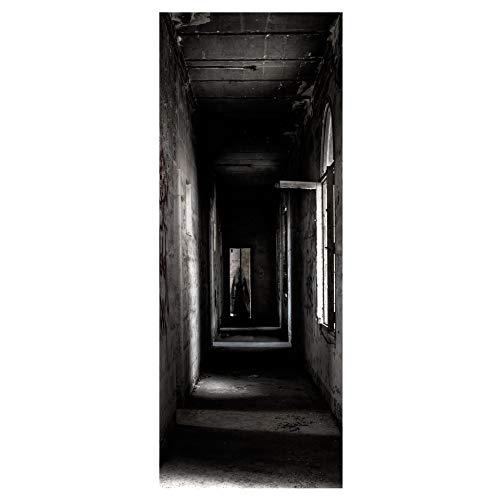 Halloween 3D Tür Aufkleber Horror Aufkleber Auf Den Türen DIY PVC Selbstklebende Wandbild Aufkleber Wohnzimmer Schlafzimmer Party Decor45cm x 200 cm x 2stücke