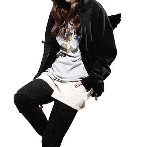 Lanmworn Women Front Zipper Angel Wings Hoodie,Casual Long Sleeve Fleeces Pockets Solid Color Hooded Sweatshirt Tunic Jacket Coat Autumn