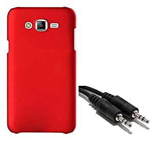 Chevron Rubberized Matte Hard Back Cover Case for Samsung Galaxy J5 with Aux Cable (Red)
