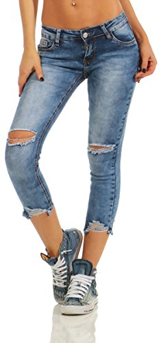 e982b6477a95 11463 Fashion4Young Damen Jeans Röhre 7 8-Denim Slim-Fit Hose Destroyed  Risse