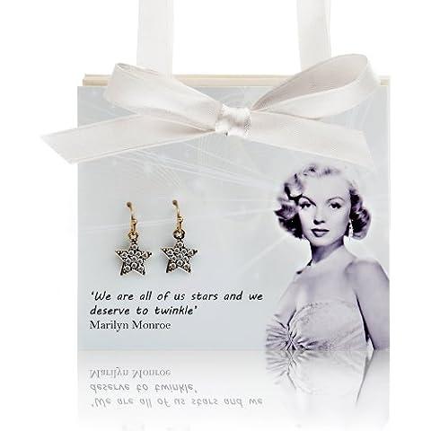 Marilyn Monroe tarjeta de regalo con diamantes Juego de pendientes de Star