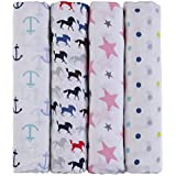 haus & kinder Blue Horse Collection Cotton Muslin Swaddle Wrap for New Born Baby (Pack of 4, Anchor + Pink + Horse + Dots)