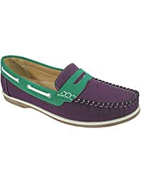 93a7ea228cd7 Ladies Coolers Faux Nubuck Leather Loafer Slip-On Boat Deck Shoes