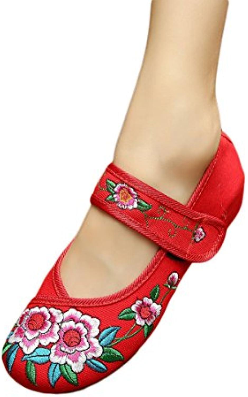 excellanyard Mujer Mary Jane chino bordado soporte de zapatos