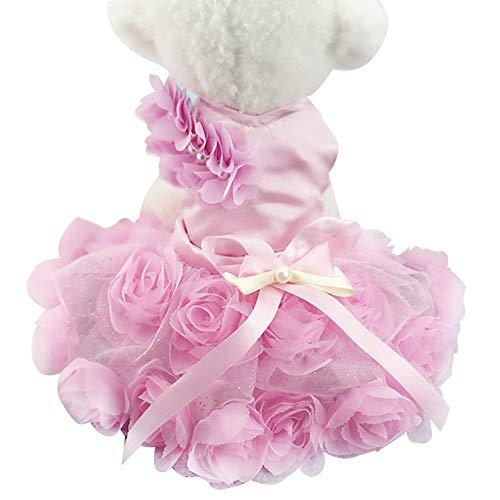 (Toruiwa Haustier Hund Katze Kleidung Haustier Rock Kleid mit Bowknot Kostüm Bekleidung für Party Halloween Weihnachten (Rosa))