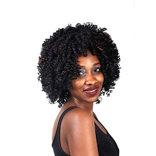 A.Monamour Afro Crépus Bouclés Court, Moyen Brun Mix Naturel Noir Regardant Fibre Synthétique Pleine Perruque Pour Les Femmes Afro-Américaines