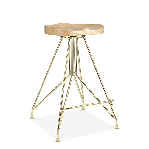 Cult Design Tabouret de Bar en Métal Moda CD1, Assise en Bois Frêne, Or 66cm