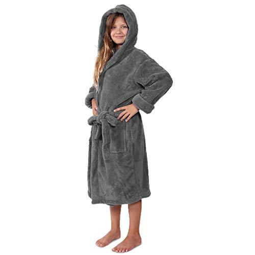 serliyKinder Junge Mädchen Dick Kaschmir Bademantel Warm Flanell Robe Casual Einfarbige Kapuzen Flauschiger Morgenmantel Plüsch Nachtwäsche Pyjama mit Gürtel für 3-12 Jahre