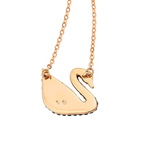 Swarovski Women's Rose Gold Plating and Black Crystal Iconic Swan Necklace Pendant Img 2 Zoom