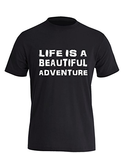 Life is a Beautiful Adventure - Herren TShirt Schwarz / Weiß