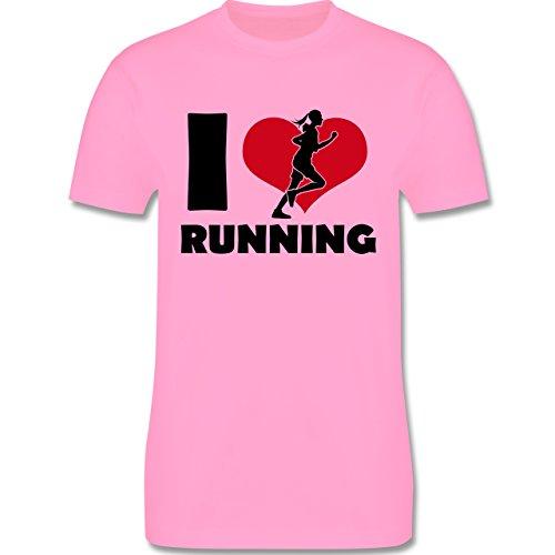 Laufsport - I Love Running - Herren Premium T-Shirt Rosa