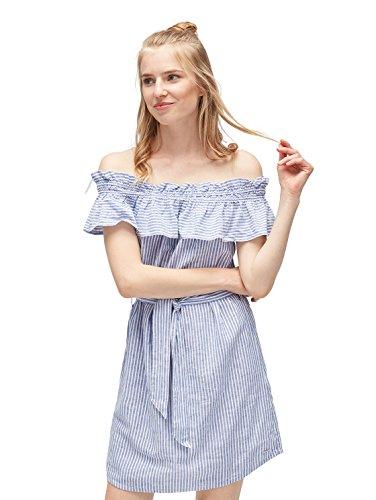 TOM TAILOR Denim Frauen Kleider & Jumpsuits Gestreiftes Kleid mit Carmen Ausschnitt