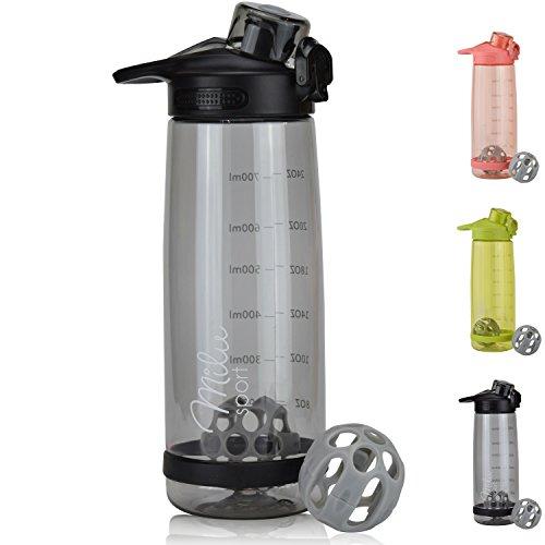 Milu Trinkflasche Eiweißshaker Sportflasche Wasserflasche - 800ml 2in1 Funktion - Auslaufsicher | Protein Shaker | Kindertrinkflasche (Schwarz)