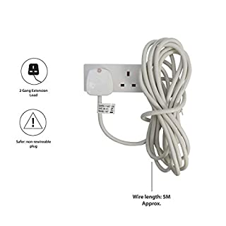 Pifco 2 Way UK 3Pin Plug Extension Lead with 5 Metre High-Quality Cable - White.