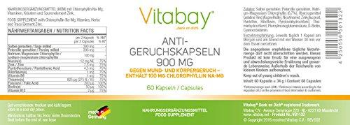Anti-Geruchskapseln - Gegen Mund- und Körpergeruch - Chlorophyll 100 mg 900 mg - 60 Kapseln - Stoppt Knoblauchfahne - Frischen Atem - Mundfrische - Gegen Mundgeruch - 2