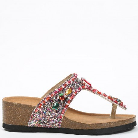 Ideal Shoes - Nu-pieds pailleté et incrusté de strass Andrienne Multicolore